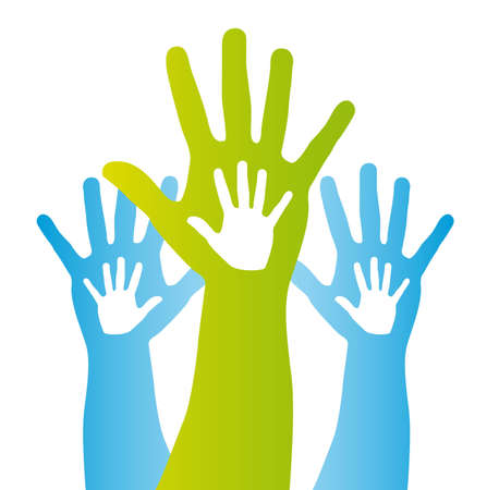 sign language: blue and green silhouette hands over white background. vector