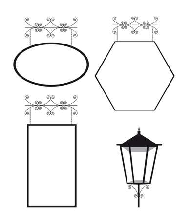 aglow: black and white copy space and  lamp street. vector illustration Illustration