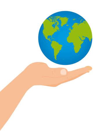 south east asia: galleggiante pianeta sulla mano su sfondo bianco. vettore