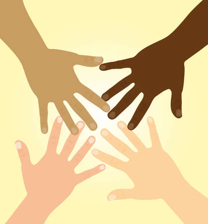 diversity: diversity hands over yellow background. vector illustration