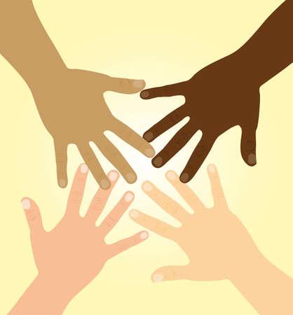 les mains de la diversité sur fond jaune. illustration vectorielle