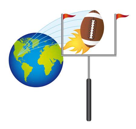 goalpost: american football with planet vector illustration