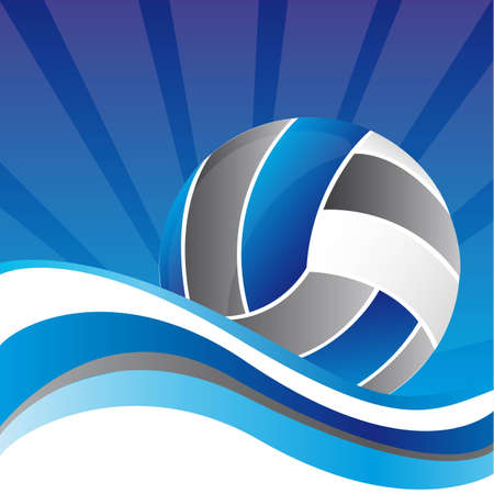 volley ball: volleball over blue background with wave vector illustration