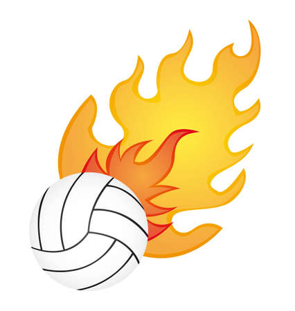 white volleyball with orange fire over white background. vector Vector