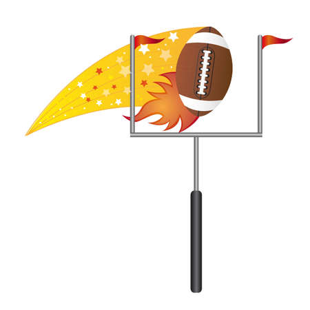 touchdown: american football with goal post over white background. vector