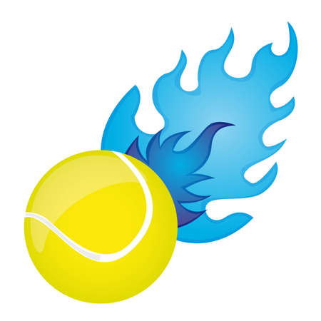 yellow tennis ball with blue fire over white background. vector Vector