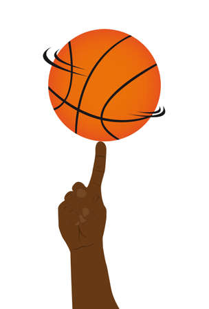 basketball ball with black hand vector illustration Vector