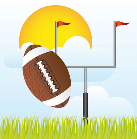 touchdown: american football with goal post vector illustration. landscape