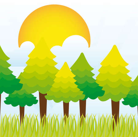 cute trees over grass landscape vector illustration Vector