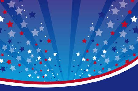 julio: EE.UU. fondo con l�neas y la ilustraci�n vectorial estrellas