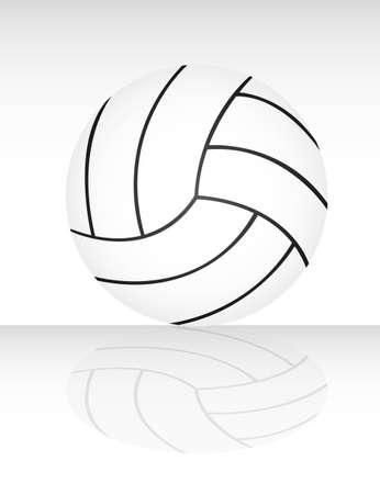 volley ball: white and black volleyball with shadow vector illustration