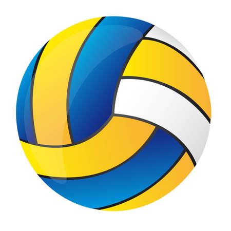волейбол: синий, желтый и белый волейбол изолированных векторной иллюстрации Иллюстрация