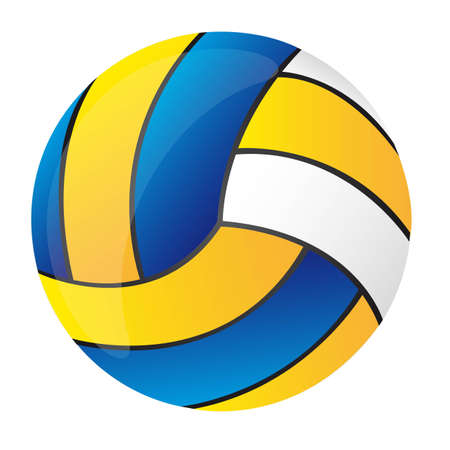 blue, yellow and white volleyball isolated vector illustration