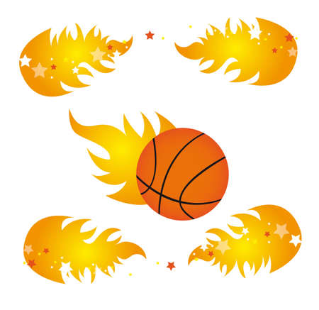 basketball with fire stars over white background. vector  Vector