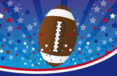 touchdown: american football over blue and red background. vector illustration