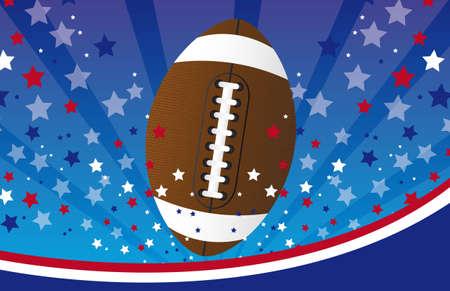 campeonato de futbol: f�tbol americano sobre fondo azul y rojo. ilustraci�n vectorial Vectores