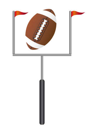 touchdown: american football with goal post isolated vector illustration Illustration