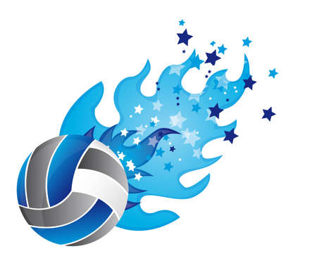 voleibol: voleibol con fuego y estrellas aisladas. ilustraci�n vectorial