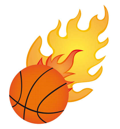 basketball ball in fire: basketball with fire isolated over whtite background. vector