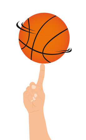 basketball ball: basketball with caucasian hand over white background.v ector