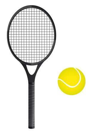 raqueta de tenis: una pelota de tenis con la raqueta sobre fondo blanco. vector