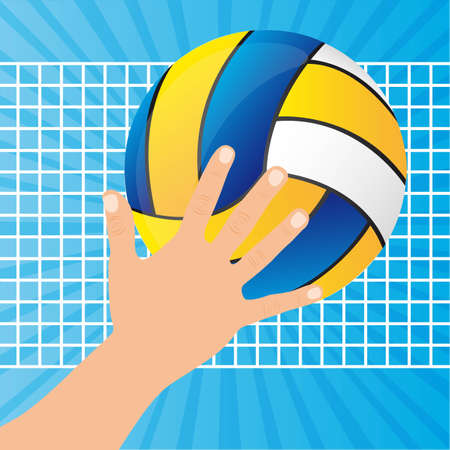 volleyball ball with hand and net over blue background. vector Stock Vector - 11657724