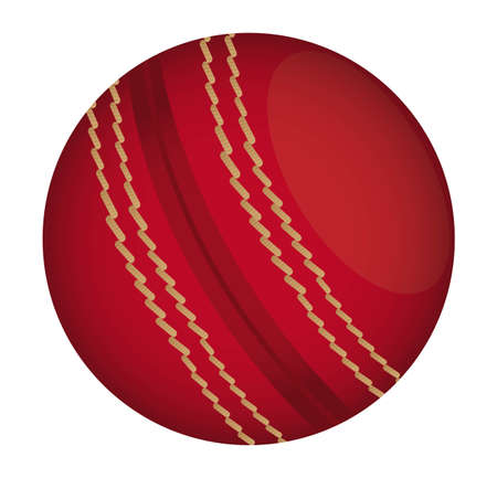 criket: red cricket ball isolated over white background. vector illustration