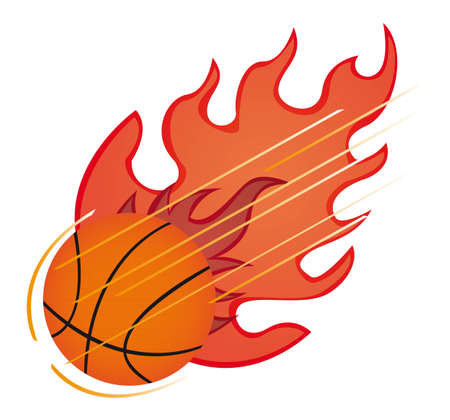 rapid fire: basketball ball with fire isolated over white background. vector