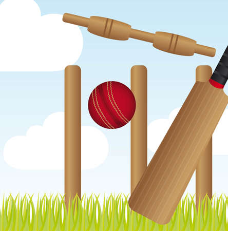 cricket set over landscape with grass vector illustration Vector
