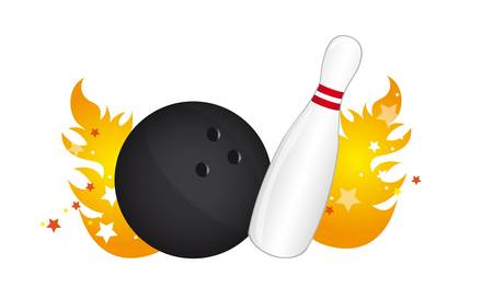 bowling pin with bowling ball over fire with stras vector  Vector