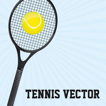 tennis ball with racket over blue background. vector illustration Vector