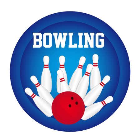 kegelen: bowling pin met bowling bal over blauwe cirkel achtergrond. vector Stock Illustratie