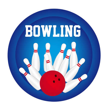 bowling pin with bowling ball over blue circle background. vector Vector