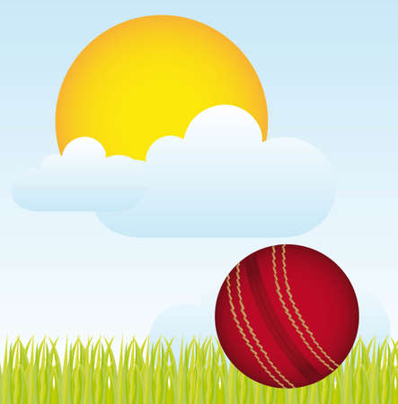 criket: cricket ball over landscape with grass and sun. vector