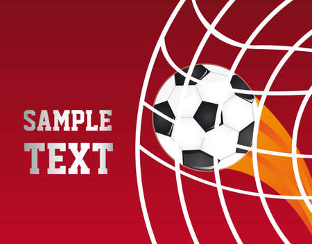 soccer ball in a net over red background. vector illustration Vector