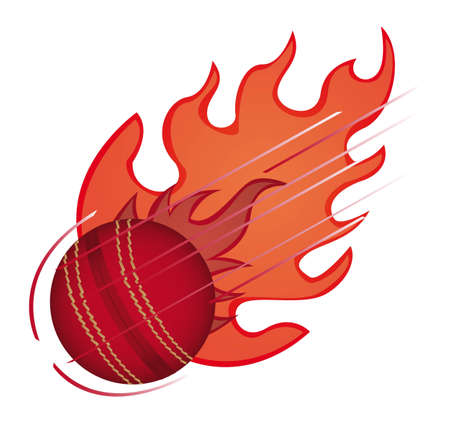 cricket ball with fire isolated over white background. vector