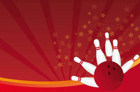 strike: bowling ball and pin over red background vector illustration