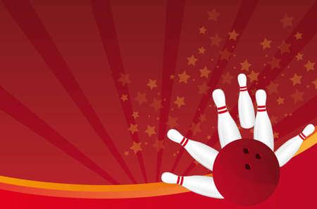 kegelen: bowlingbal en pin over rode achtergrond vector illustratie Stock Illustratie