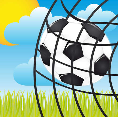soccer ball in a net over landscape vector illustration Stock Vector - 11657735