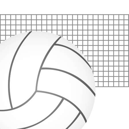 volleyball ball with net over white background. vector Illustration