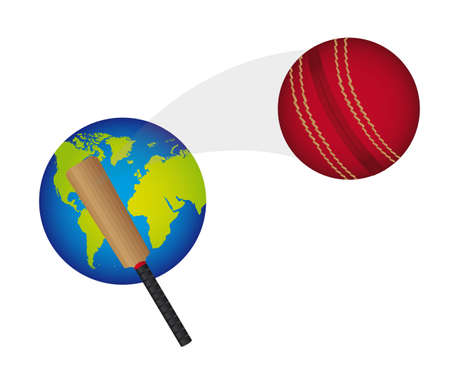 cricket ball with planet and cricket bat vector illustration Illustration