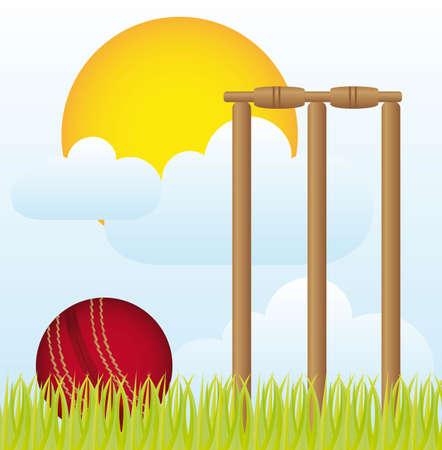 batsman: cricket over landscape with grass and sky vector illustration