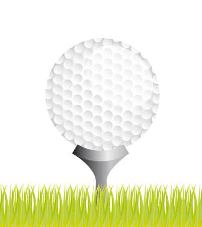 golf ball over grass background. vector illustration Illustration