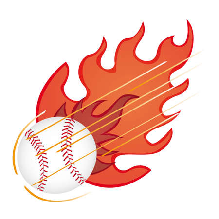 baseball ball with fire isolated over white background. vector Vector