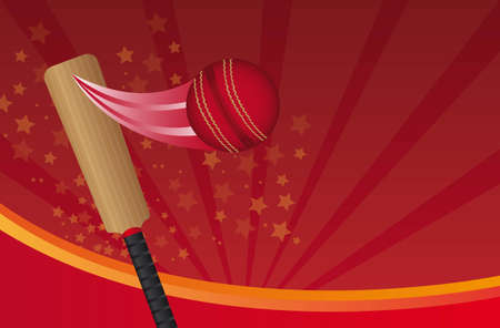cricket sport: cricket ball and cricket bat over red background. vector