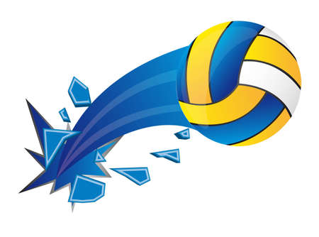 indoor sport: colorful volleyball broken over white background. vector