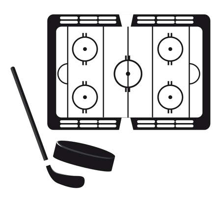 hockey pitch with hockey puck and stick silhouette. vector Vector