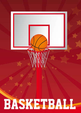 basketball poster with basketball ball over red background. vector Vector