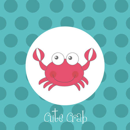 red cute crab over circles aquamarine vector illustration Vector
