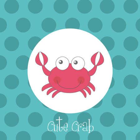 crabs: red cute crab over circles aquamarine vector illustration Illustration